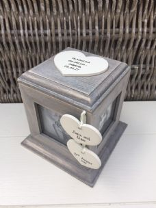 Shabby Chic Rustic Wood Style Personalised Engagement Gift Photo Cube Box - 253172477333